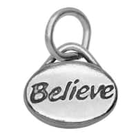 Lead-Free Pewter Message Charm, 'Believe' 11x8mm, 1 Piece, Antiqued Silver