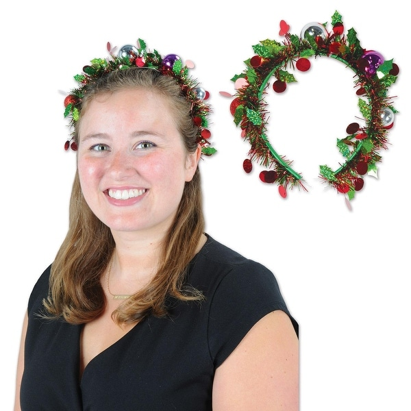 Pack of 12 Tinsel Garland with Ball Ornaments Christmas Headband Costume Accessories - green