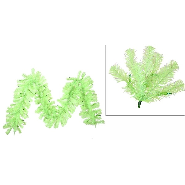 "9' x 12"" Pre-Lit Sparkling Chartreuse Green Christmas Garland - Green Lights"