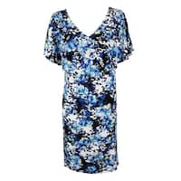 Connected Plus Size Blue Multi Printed Flutter-Sleeve A-Line Dress 22W