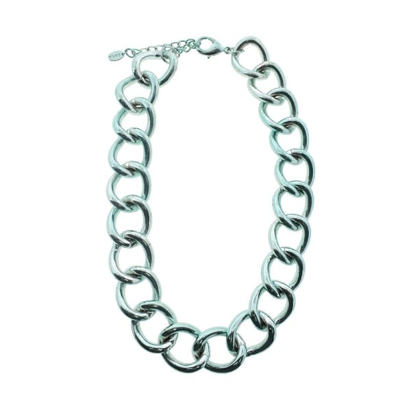 Zara Womens Chain Necklace Steel Statement - metallic green