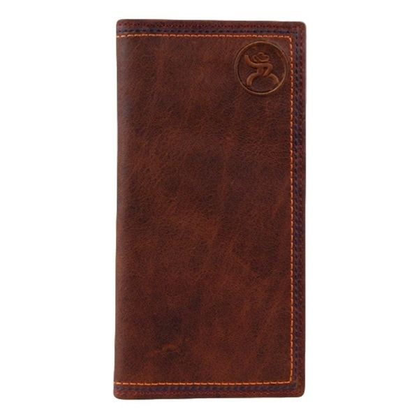 HOOey Western Wallet Mens Signature Roughy Slots Rodeo Brown - 3 1/2 x 3/4 x 7