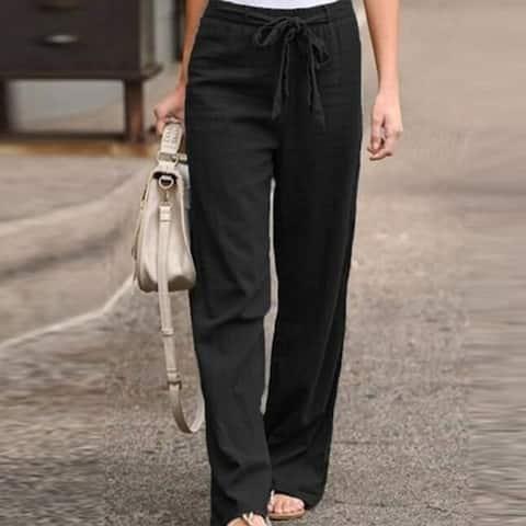 Comfy High Waist Wide Leg Linen Pants With Pockets