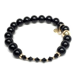 Black Onyx 'Daisy' Stretch Bracelet, Swarovski Crystal 14k over Sterling Silver