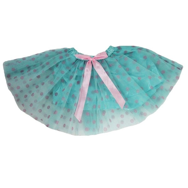 bac0cdc900471 Little Girls Light Blue Pink Dots Satin Elastic Waist Ballet Tutu Skirt 2-8Y