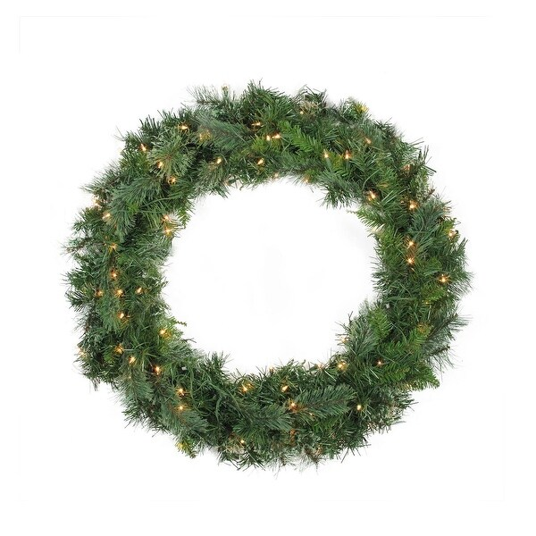 "36"" Pre-Lit Mixed Cashmere Pine Artificial Christmas Wreath - Clear Lights - green"