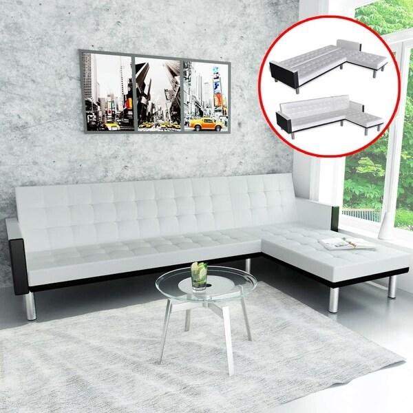 Shop vidaXL L-shape Sofa Bed Black and White Artificial ...