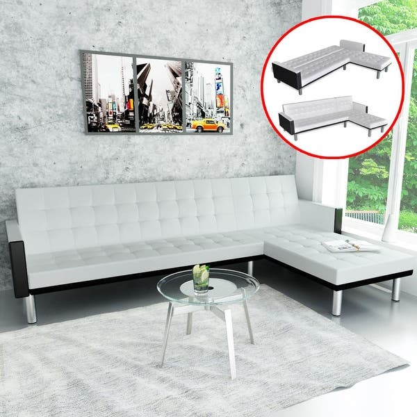 Phenomenal Shop Vidaxl L Shape Sofa Bed Black And White Artificial Ibusinesslaw Wood Chair Design Ideas Ibusinesslaworg