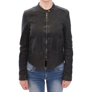 Dolce & Gabbana Black Perforated Leather Biker Jacket Coat - it38-xs