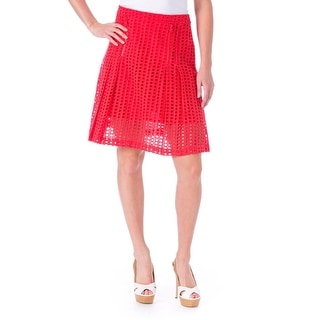 Timo Weiland Womens Lattice Pleated A-Line Skirt - 2