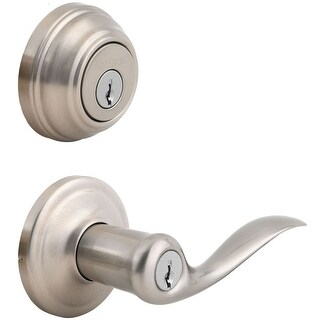 Kwikset 991TNL Tustin Keyed Leverset with Single Cylinder Deadbolt Combo Pack featuring SmartKey