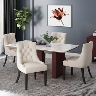 Link to Hayden Tufted Fabric Dining Chairs (Set of 4) by Christopher Knight Home Similar Items in Dining Room & Bar Furniture
