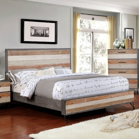 Furniture of America Cell Transitional Solid Wood Platform Bed