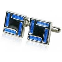 Blue Enamel Square Frame Cufflinks