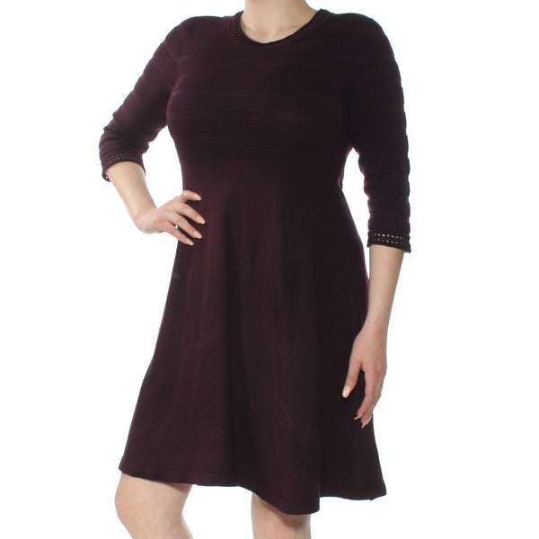 JESSICA HOWARD Womens Burgundy Pleated 3/4 Sleeve Jewel Neck Above The Knee Fit + Flare Dress Size: XL