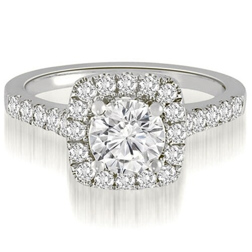 1.52 cttw. 14K White Gold Halo Round Cut Diamond Engagement Ring