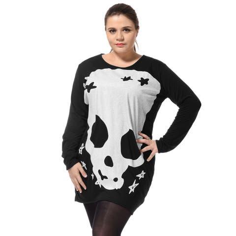 Allegra K Women's Plus Size Stars Detail Pullover Scoop Neck Spring Tunic Shirt - Black