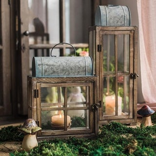 RusticReach Decorative Table Lantern Wooden Glass Lantern