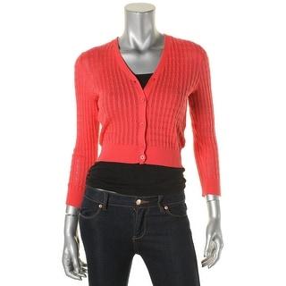 Lauren Ralph Lauren Womens Cardigan Sweater Knit Ribbed Trim