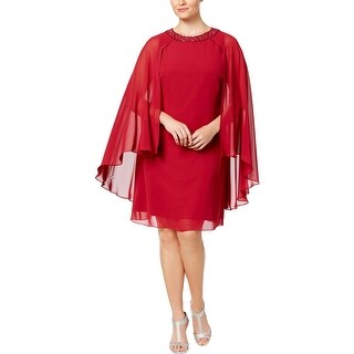 SLNY Womens Plus Capelet Dress Embellished Above Knee