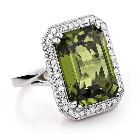 14k Gold 13ct TGW Peridot and 1 3/4ct TDW Diamond Cocktail Ring (G-H, VS1-VS2)