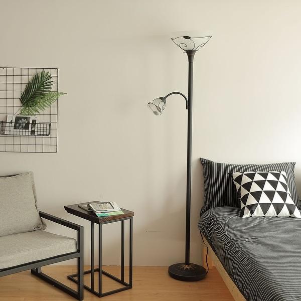 "CO-Z 71"" 3-Way Torchiere Floor Lamp with Adjustable Side Reading Light - Dark Bronze. Opens flyout."