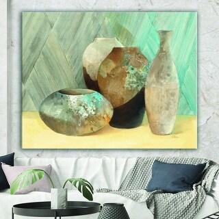 Designart 'Still Life of Vase Bottle' Traditional Canvas Artwork - Grey
