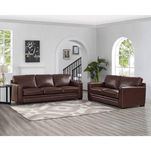 Hydeline Dillon Top Grain Leather Sofa Set, Sofa and Loveseat