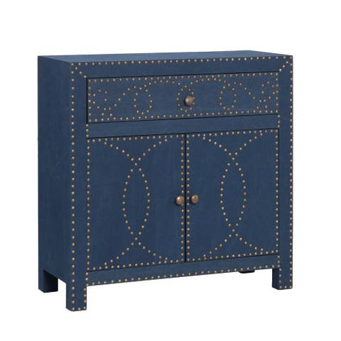 "28.25"" Navy Blue Contemporary Double Door Cabinet"