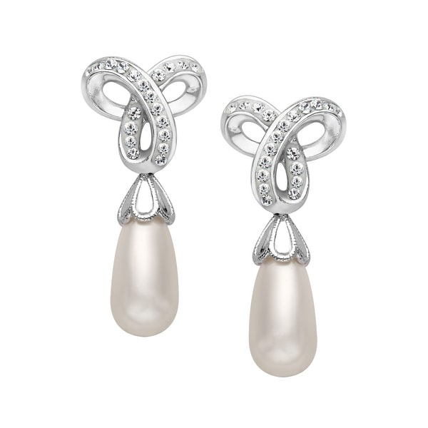 Crystaluxe Drop Earrings with Swarovski elements Crystals and Freshwater Pearls in Sterling Silver