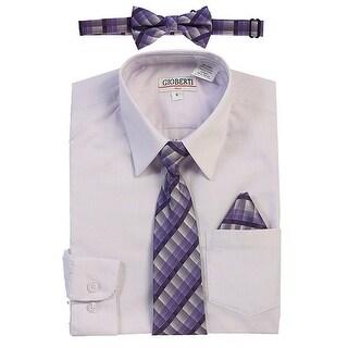 Gioberti Little Boys Lilac Tie Bow Tie Handkerchief Dress Shirt 4 Pc Set