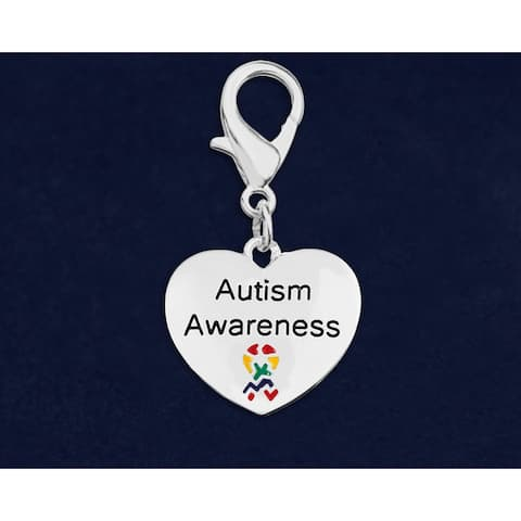 Autism Awareness Hanging Heart Charm Hanging Charm - Silver