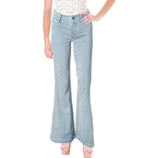 Free People Womens Jolene Flare Jeans Mid-Rise Extended Tab Waistband