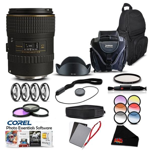 Tokina 100mm f/2.8 AT-X M100 AF Pro D Macro Lens (for Canon) (Intl Model) Lens Accessory Kit - black