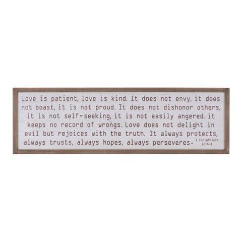 """Love is patient"" Wood Framed Wall Decor - Beige"