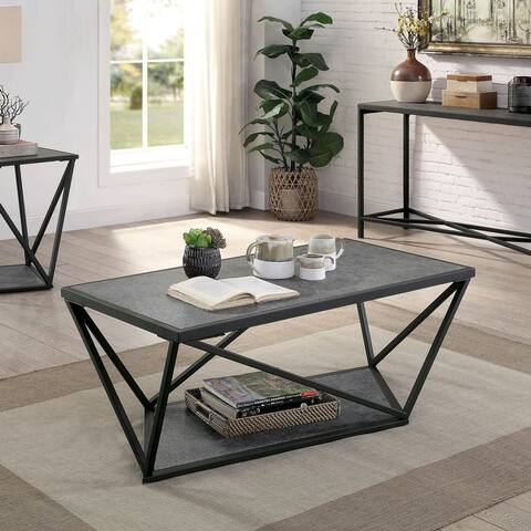 Furniture of America Lyne Contemporary Grey Metal Coffee Table