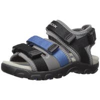 Kids Geox Boys strada Fabric Ankle Strap Buckle Sport Sandals