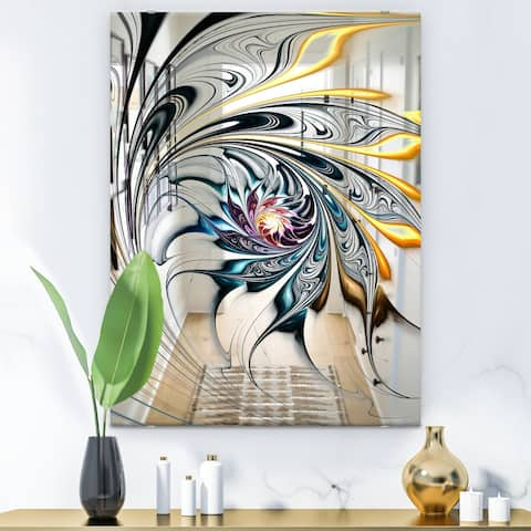 Designart 'White Stained Glass Floral Art' Accent Mirror - White