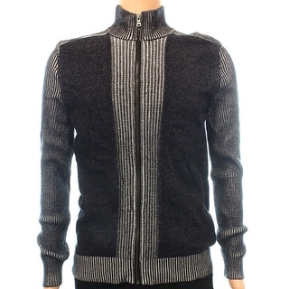 INC NEW Deep Black Gray Mens Size Small S Full Zip Ribbed Knit Sweater