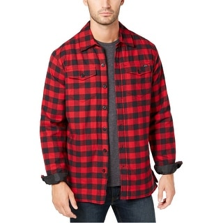 Link to Dickies Mens Flannel Jacket, red, Large Similar Items in Men's Outerwear