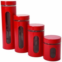 Anchor Hocking 4-Piece Palladian Glass and Stainless Steel Canister Set, Red