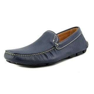 Prada 2DD003 Youth Moc Toe Leather Blue Loafer