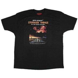 Stranger Things Mens Replica Video Game Controller Black T-Shirt