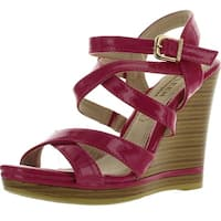 Kayleen Dayla-2 Womens Ankle Strap Crossing Stacked Heel Wedge Sandals