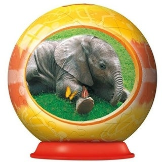 Ravensburger 54 Piece Baby Animal Puzzleball With Fact Sheet - Baby Elephant - Orange - 4.0 in. x 4.0 in. x 4.0 in.
