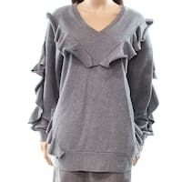 Chelsea28 Women Medium Ruffle V-Neck Pullover Sweater