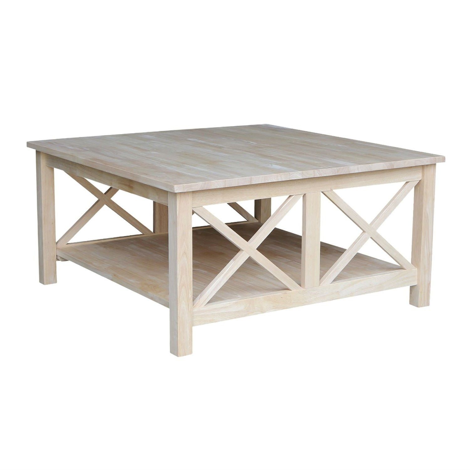 square unfinished solid wood coffee table with bottom shelf pictured 36 in w x 36 in d x 18 in h