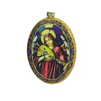 "4.75"" Glitter Accented Angel Religious Decorative Christmas Disc Ornament - multi"