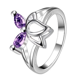 Duo-Purple Citrine Butterfly Wings Petite Ring
