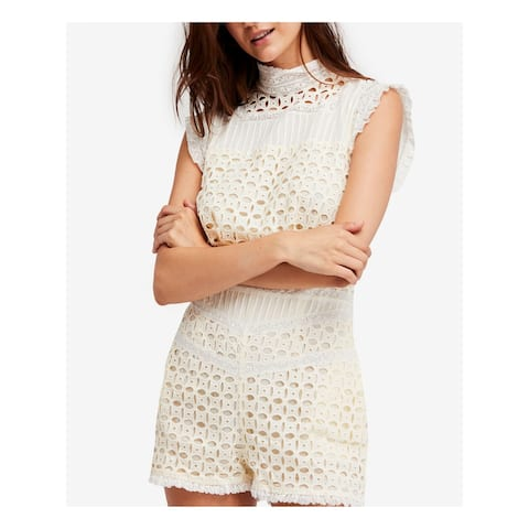 FREE PEOPLE Womens Ivory Lace Trim Sleeveless Romper Size: 6